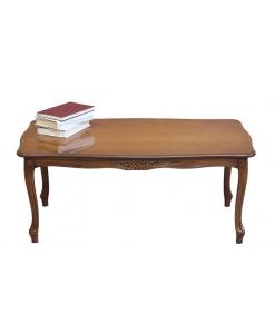 Tavolino rettangolare da salotto con intagli