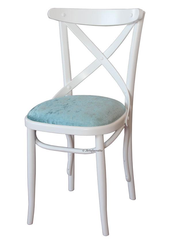 Sedia legno di faggio sedia bianca e velluto azzurro - Sedia legno bianca ...