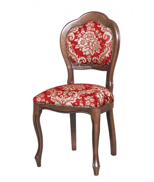 Sedia classic style made in Italy, in legno di faggio e tessuti di alta qualità, Art. VIS-401