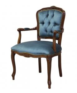 Poltroncina parisienne classica imbottita velluto azzurro