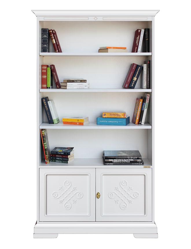 Libreria in legno laccato con decori libreria ante e for Scaffali libreria in legno