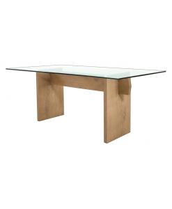 tavolo rovere, tavolo con ripiano in cristallo, tavolo da cucina, tavolo in legno, arredo soggiorno