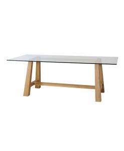 tavolo in rovere, tavolo rovere, tavolo da cucina, tavolo con piano in cristallo