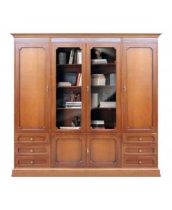 Composizione mobile parete in legno stile classico
