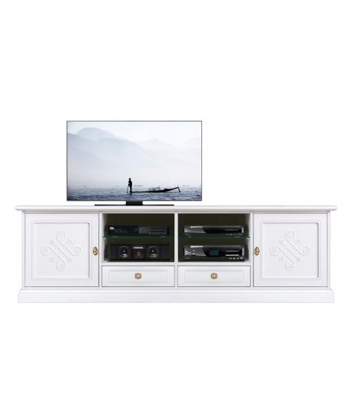 Mobile TV 2 ante e 2 cassetti con decorazioni in rilievo, Art. 4010-BI-YOU