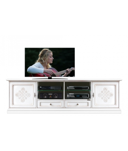 Mobile porta TV basso da salotto bianco con fregi