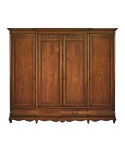 Armadio classico, Armadio 4 ante e 4 cassetti, armadio per camera da letto, arredo camera da letto, armadio in legno, armadio intarsiato