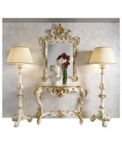 Composizione specchio, consolle e piantane in stile barocco