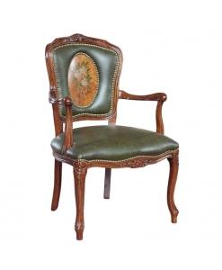 poltroncina decorata a mano, poltroncina classica, poltroncina parisienne, poltroncina in pelle, poltroncina per soggiorno, poltroncina elegante