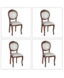 Lotto 4 sedie imbottite con intaglio art. vis-12