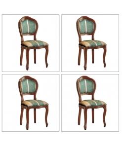 Lotto di 4 sedie imbottite per la sala da pranzo