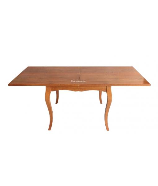 Tavolo in legno con piano aperto a libro