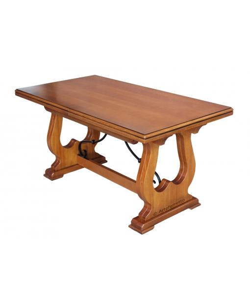 Tavolo in legno massello di toulipier allungabile con 4 allunghe