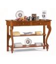 Consolle in legno massello con 2 cassetti e 2 ripiani inferiori