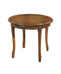 Tavolino rotondo con intagli