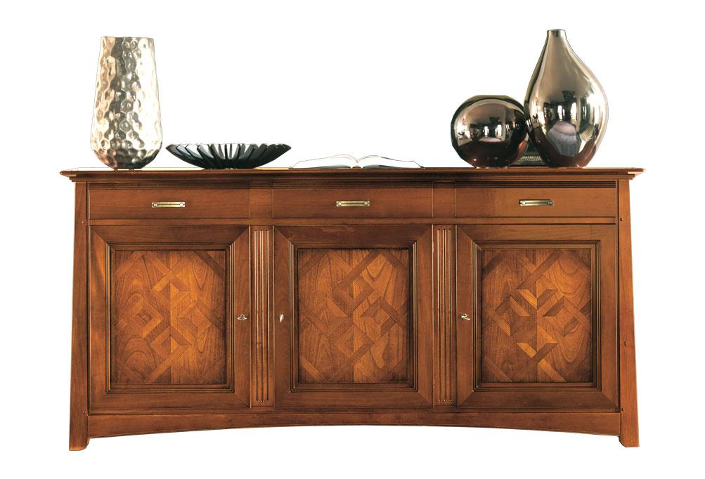 Credenza Con Intarsi : Credenza porte in legno con intarsi struttura massello di