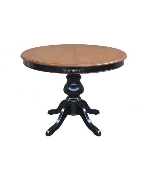 Tavolo tondo con allunga interna, bicolore ciliegio / nero per sala da pranzo