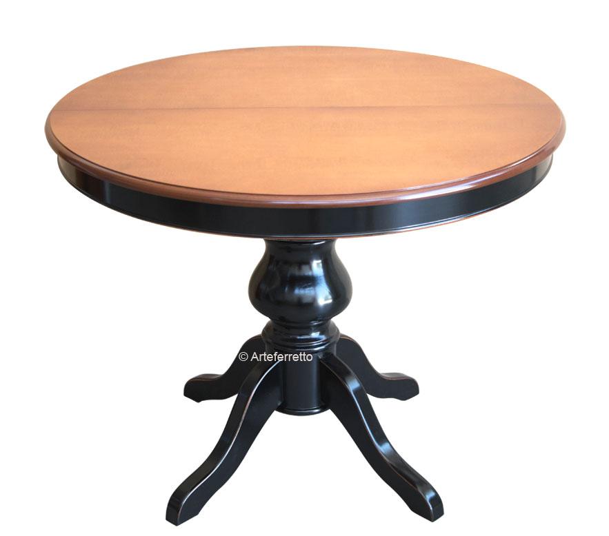 Tavolo Rotondo Bicolore Allungabile 120 Cm Arteferretto