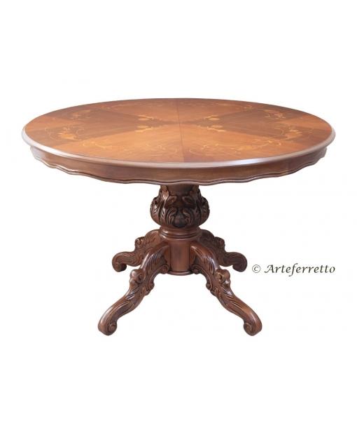 Tavolo rotondo intarsiato da 4 a 6 persone, Art. MIT-03-A