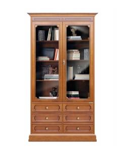 Vetrina libreria alta due ante, vetrina per soggiorno, libreria per ufficio, mobile libreria per ufficio, vetrina per soggiorno, mobile in stile classico, mobile vetrina, mobile in legno