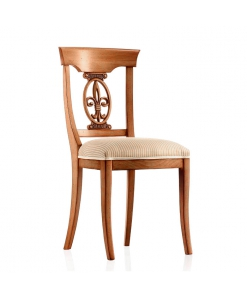 sedia classica intagliata, sedia in legno, sedia da pranzo, sedia lavorata, sedia imbottita, sedia tappezzata, sedia in stile classico, sedia lavorata, sedia