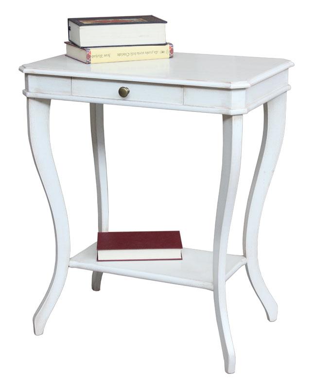 Tavolino laccato bianco in legno con cassetto classico for Tavolino salotto bianco laccato