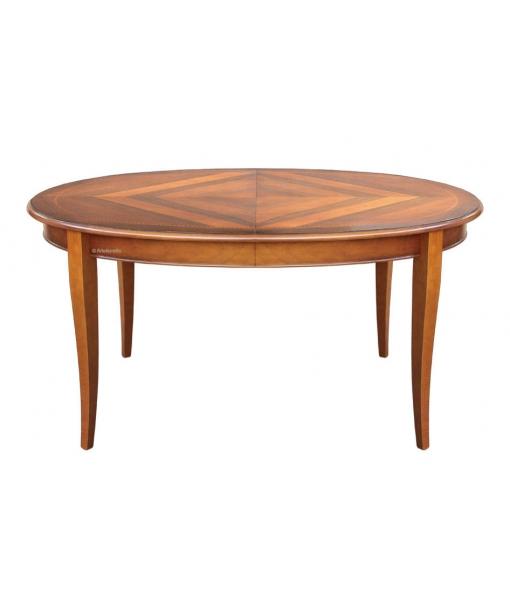 Tavolo ovale intarsiato allungabile per 8 persone, Art. FV-37-TS