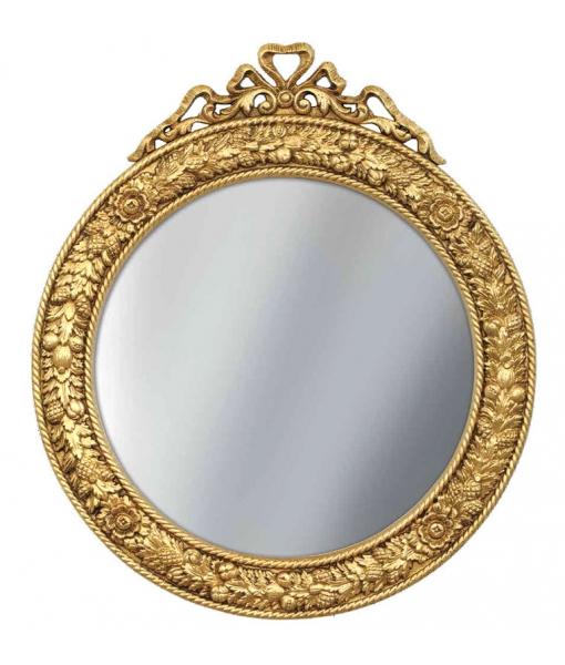 Specchiera rotonda in foglia oro cornice intagliata, Art. P-B165