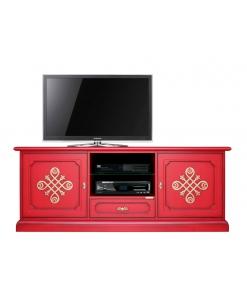 """Mobile Tv """"Modena Gold"""", porta tv rosso, mobile rosso, porta tv legno laccato rosso"""