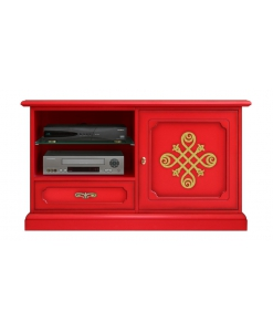 mobile tv rosso con decoro oro