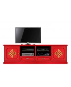 Mobile tv rosso in legno