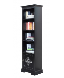 Libreria alta nera e argento