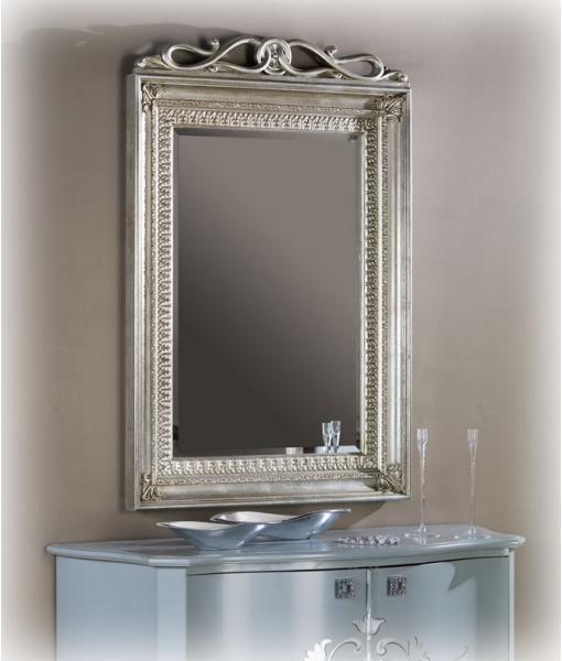 Specchio in legno con foglia argento