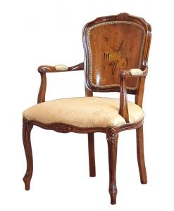 Poltroncina in legno classica imbottita e intarsiata