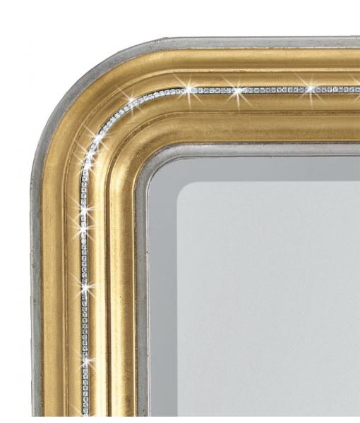 Specchiera rettangolare oro e Swarovski