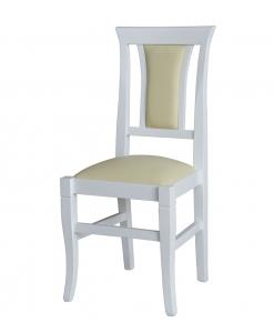 Sedia in legno laccato con seduta e schienale imbottito