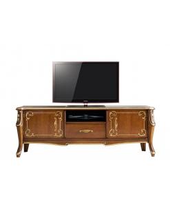 mobile porta tv di lusso classico con decorazioni oro argento e foglia oro