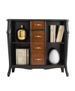 Libreria bassa bicolore classica nera con 4 cassetti bassano