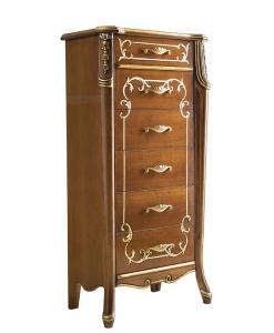 Cassettiera alta con piedini e 6 cassetti, foglia oro e decori oro / argento, Art.