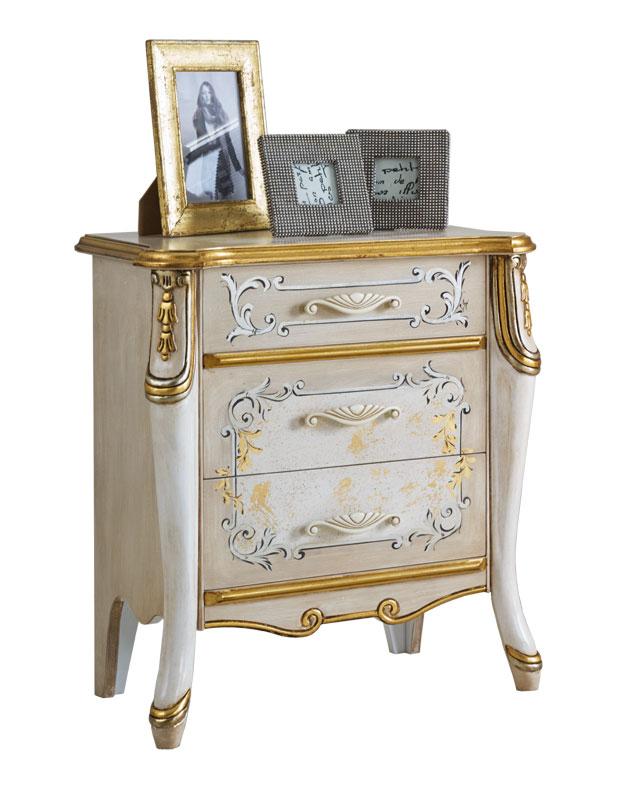 Comodino lusso laccato e decorato con oro art 6714