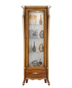Vetrinetta alta schienale tappezzato classica in legno con foglia oro ad anta singola con un cassetto