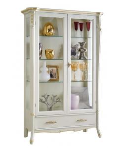 Vetrina bianca 2 porte 1 cassetto bianca con foglia oro e decorazioni dorate, 3 ripiani in vetro