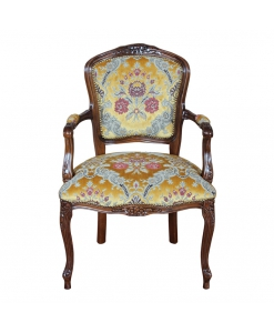 Poltroncina parigina classica tappezzata da salotto in legno, giallo ambra