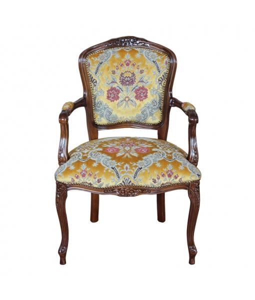 Poltroncina parigina classica tappezzata da salotto in legno, giallo ambra, Art. GM-333