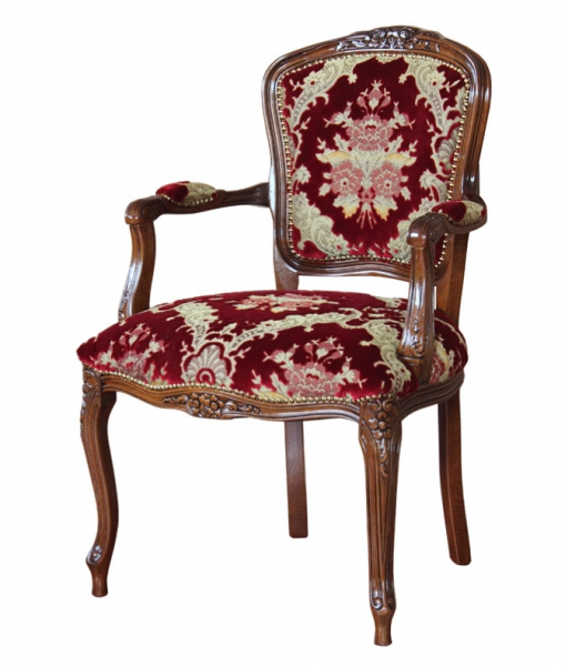Poltroncina parigina classica tappezzata da salotto in legno, rosso