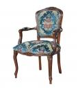 Poltrona parigina da salotto tappezzata in velluto blu petrolio classica in legno di faggio