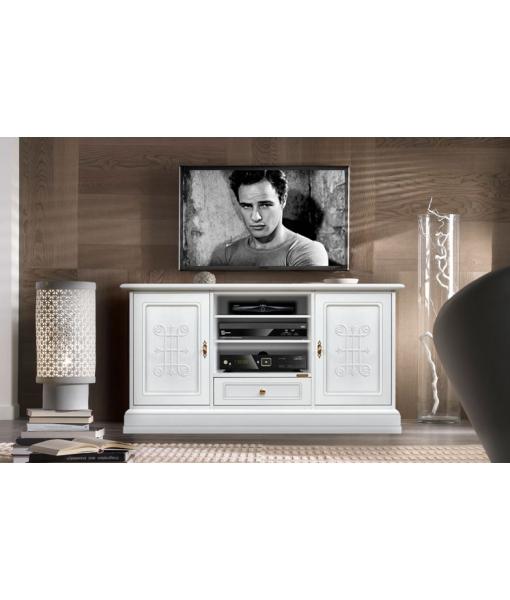 Mobile tv laccato bianco con fregi