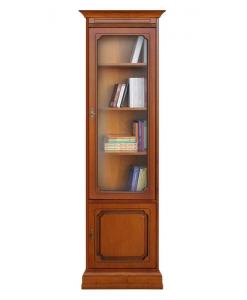 Libreria vetrinetta a colonna con anta a vetro, stile classico