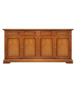 Credenza 4 ante per il salotto, in legno stile classico,