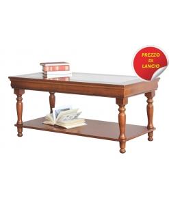 Tavolino rettangolare in legno con piano in vetro stile Luigi Filippo